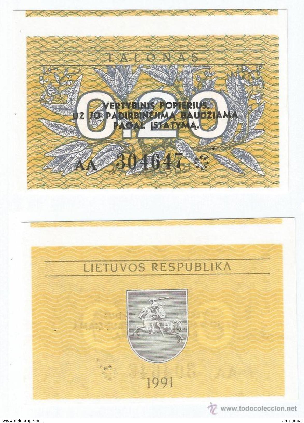 Lituania - Lithuania 0,20 Talonas 1991 Pick 30 UNC - Lituania