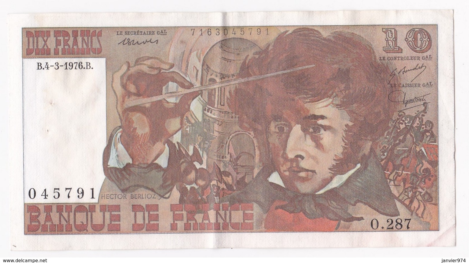 10 Francs Berlioz 4 3 1976 Alphabet O.287 N° 045791 - 1962-1997 ''Francs''