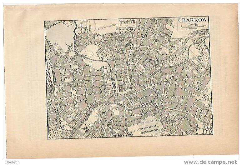 LAMINA ESPASA 1896: Plano De Charkow Rusia - Non Classificati