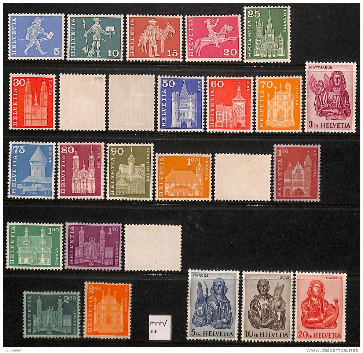 Suisse 1960 - N° 643/60F, Série Courante, SC **/mnh Sauf Les Timbres Retournés */mlh, Facteurs, Religions, Saints, Monum - Neufs