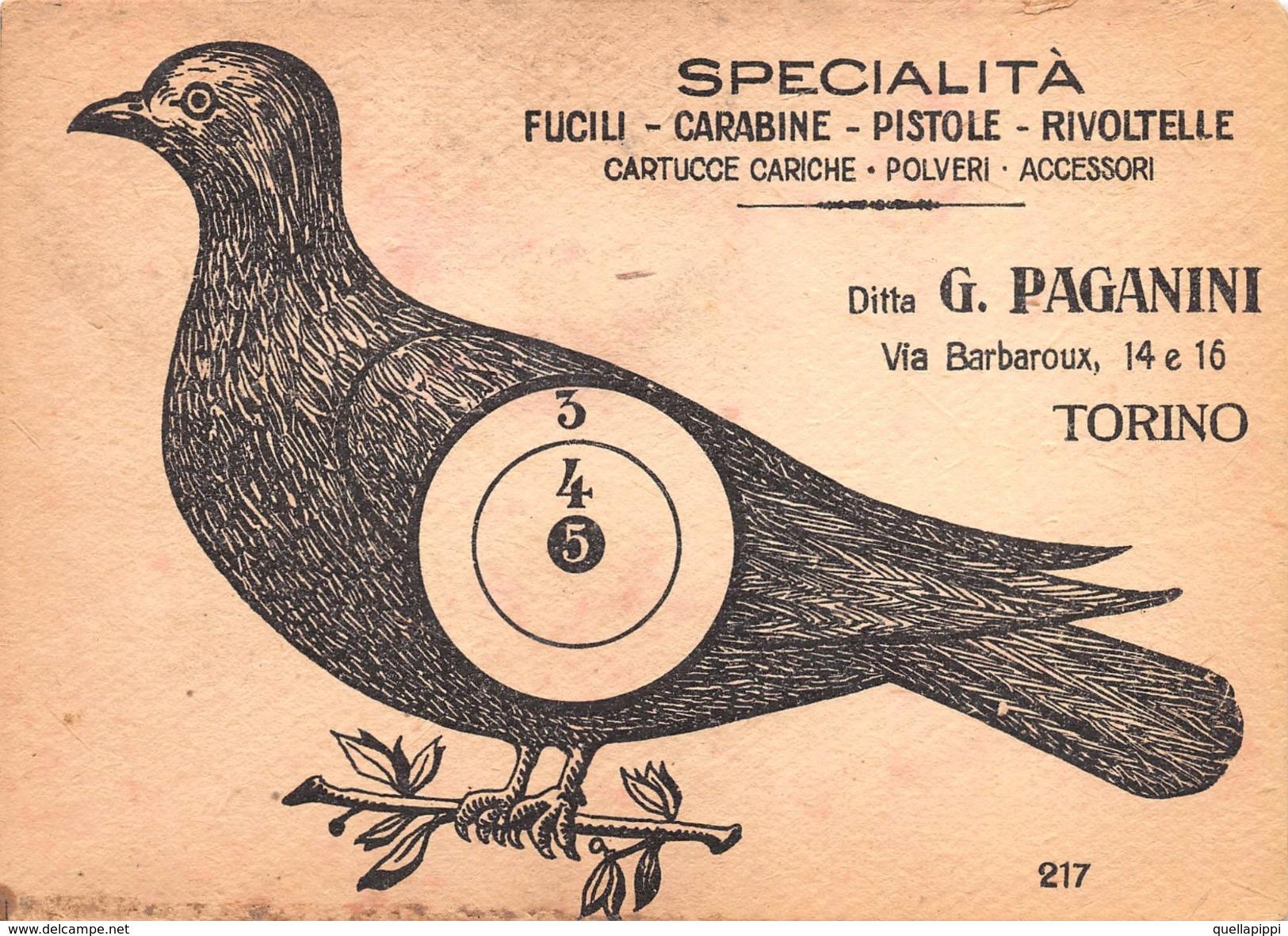 """05863 """"DITTA G. PAGANINI-TORINO - SPECIALIT' FUCILI-CARABINE-CARTUCCE-ACCESSORI"""" CARTONCINO TIRO A SEGNO.  PUBBLICITARIO - Pubblicitari"""