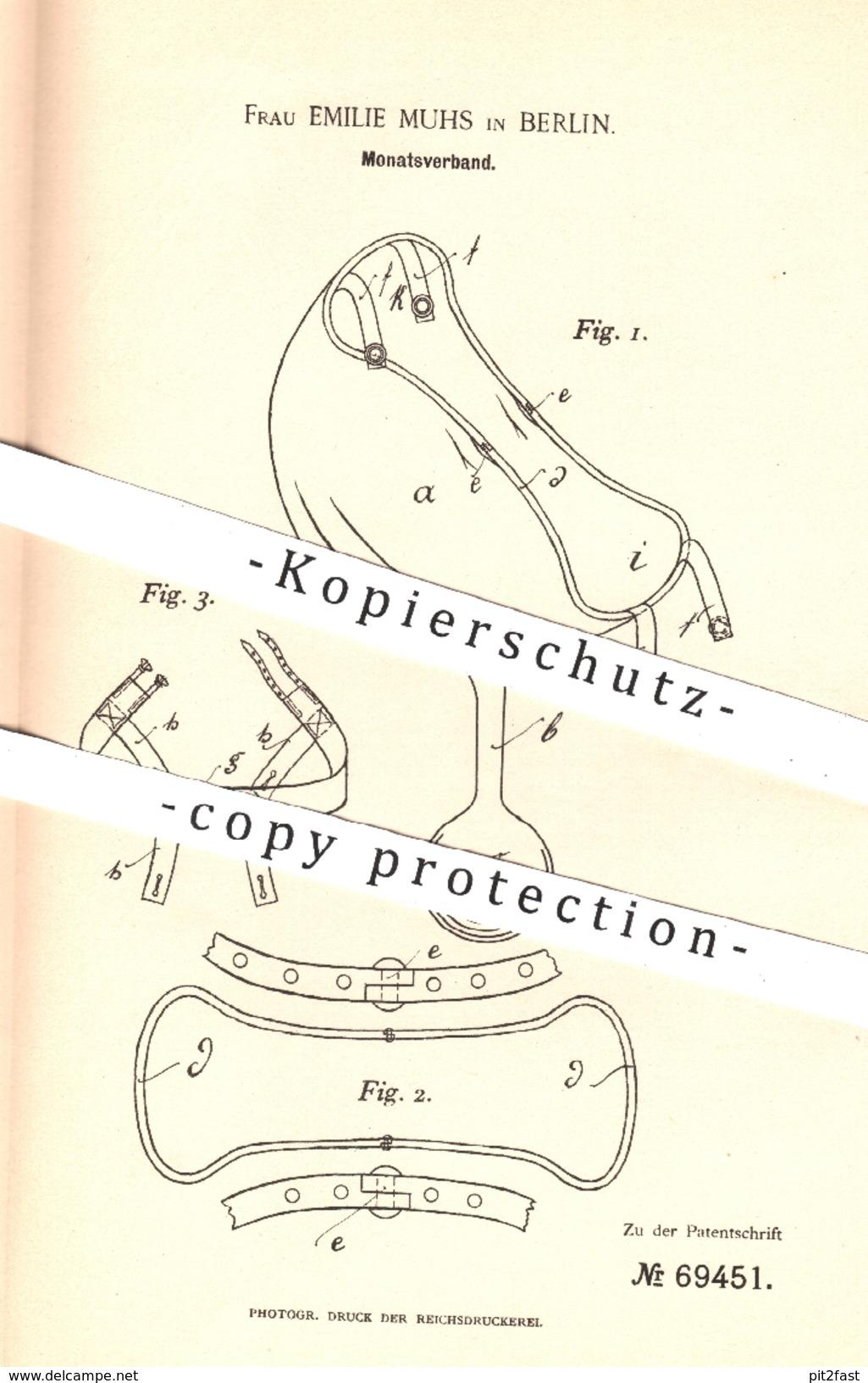 Original Patent - Emilie Muhs , Berlin , 1892 , Monatsverband Für Frauen | Verband , Binde , Hygiene , Medizin !!! - Manuskripte