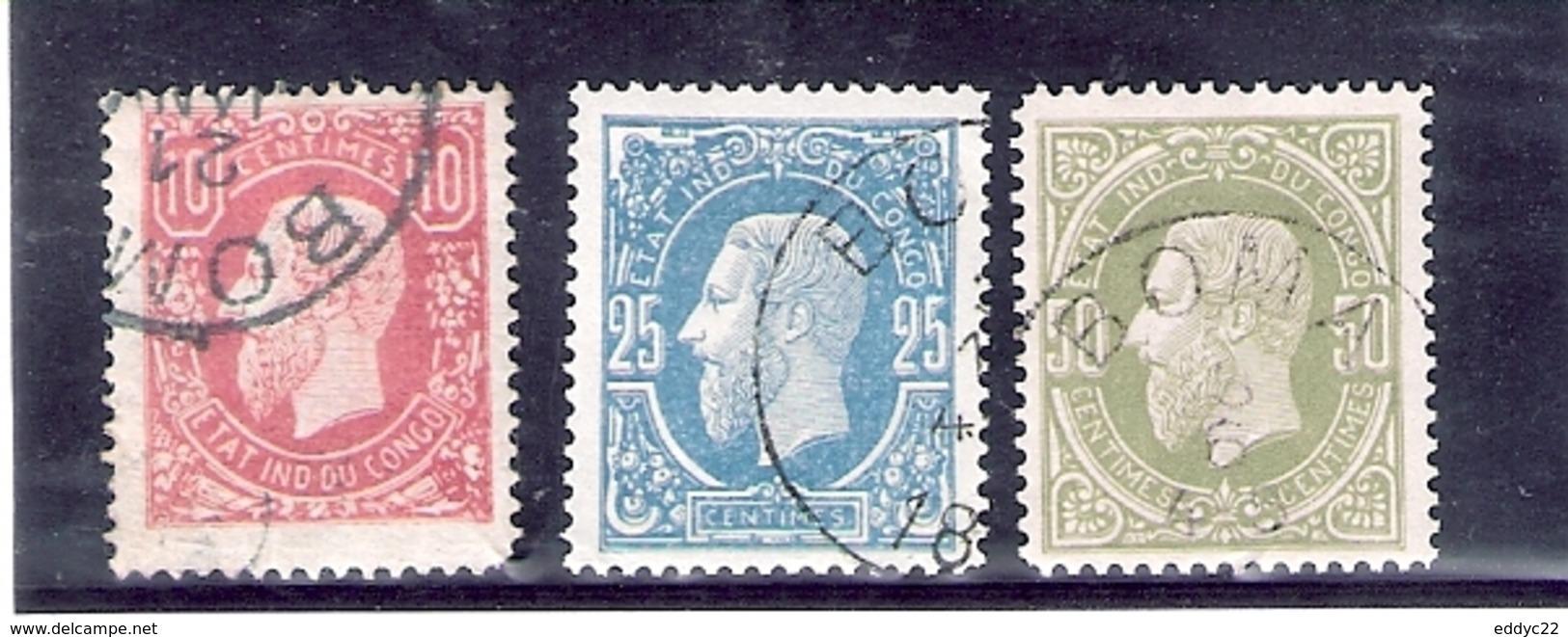 Congo Belge - 2-3-4 - Obl/gest/used - 1884-1894 Precursors & Leopold II
