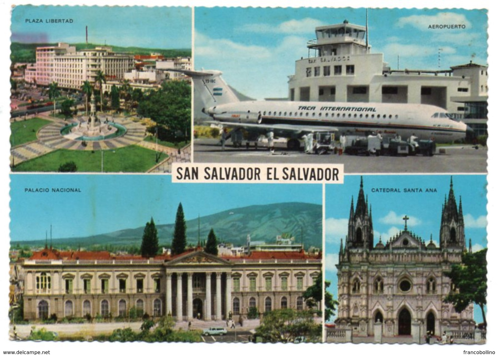 EL SALVADOR-SAN SALVADOR AEROPUERTO/ AIRPORT/ AEROPORT/ AEROPORTO / AVION / AIRPLANE / THEMATIC STAMP- O.M.S. - Aerodromi