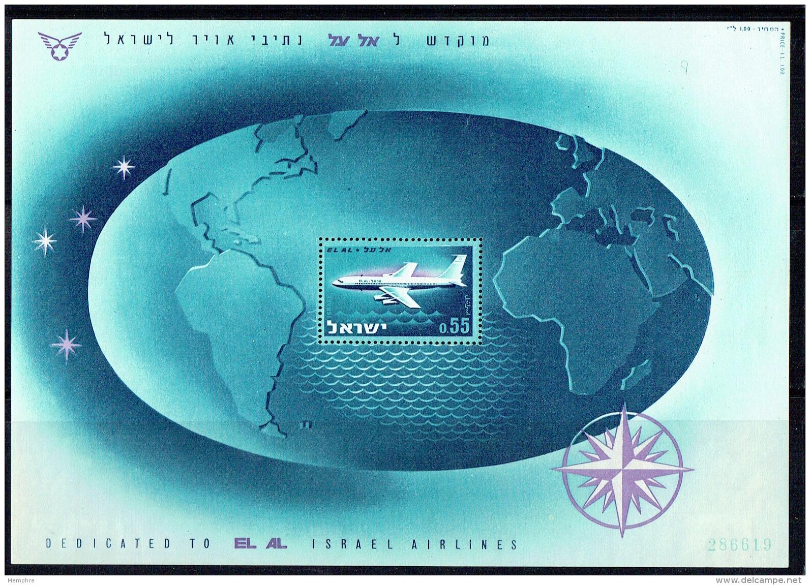 1962  El Al Airlines - Plane On World Map   - Souvenir Sheet ** - Blocks & Sheetlets