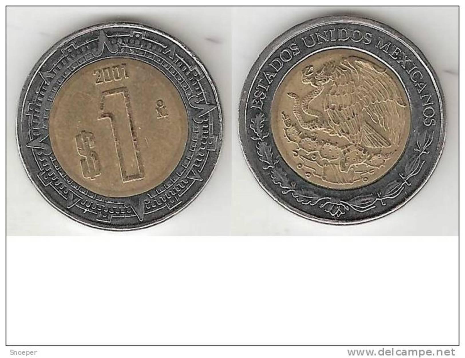 Mexico 1 Peso 2001  Km 603    Xf - Mexico