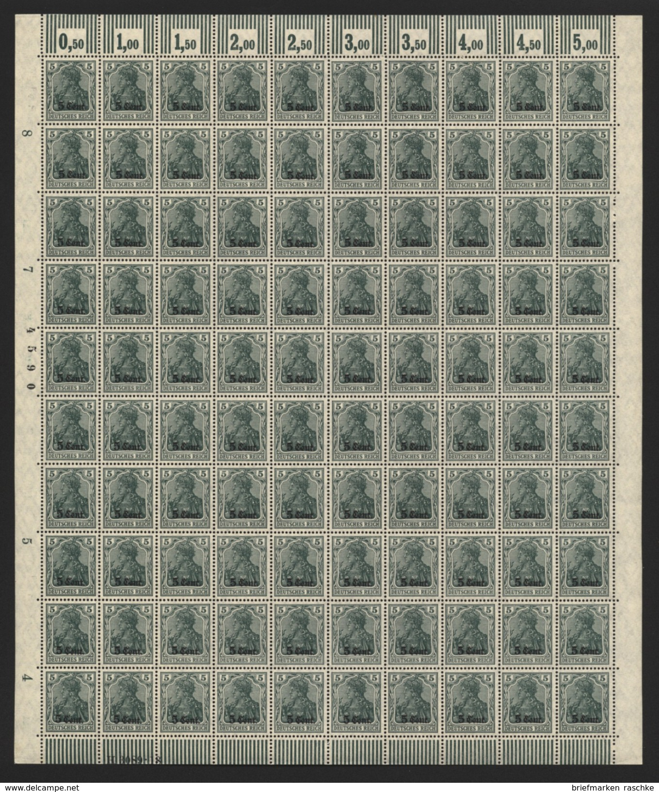 Etappe West,2c Im  Walze Bogen,xx (M5) - Besetzungen 1914-18