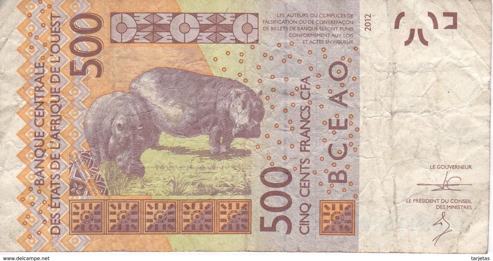BILLETE DE SENEGAL DE 500 FRANCS DEL AÑO 2012 (HIPOPOTAMO-HIPPO) (BANK NOTE) - Sénégal
