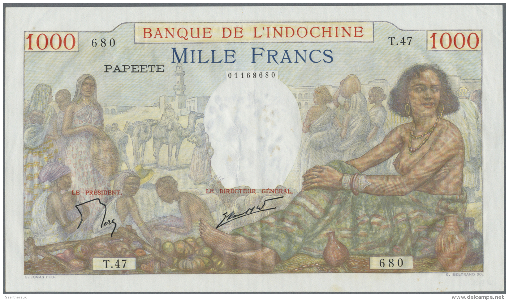 Tahiti: 1000 Francs ND(1940-57) P. 15 In Exceptional Condition For This Type Of Large Size Note, Very Crisp Original, Br - Banknotes