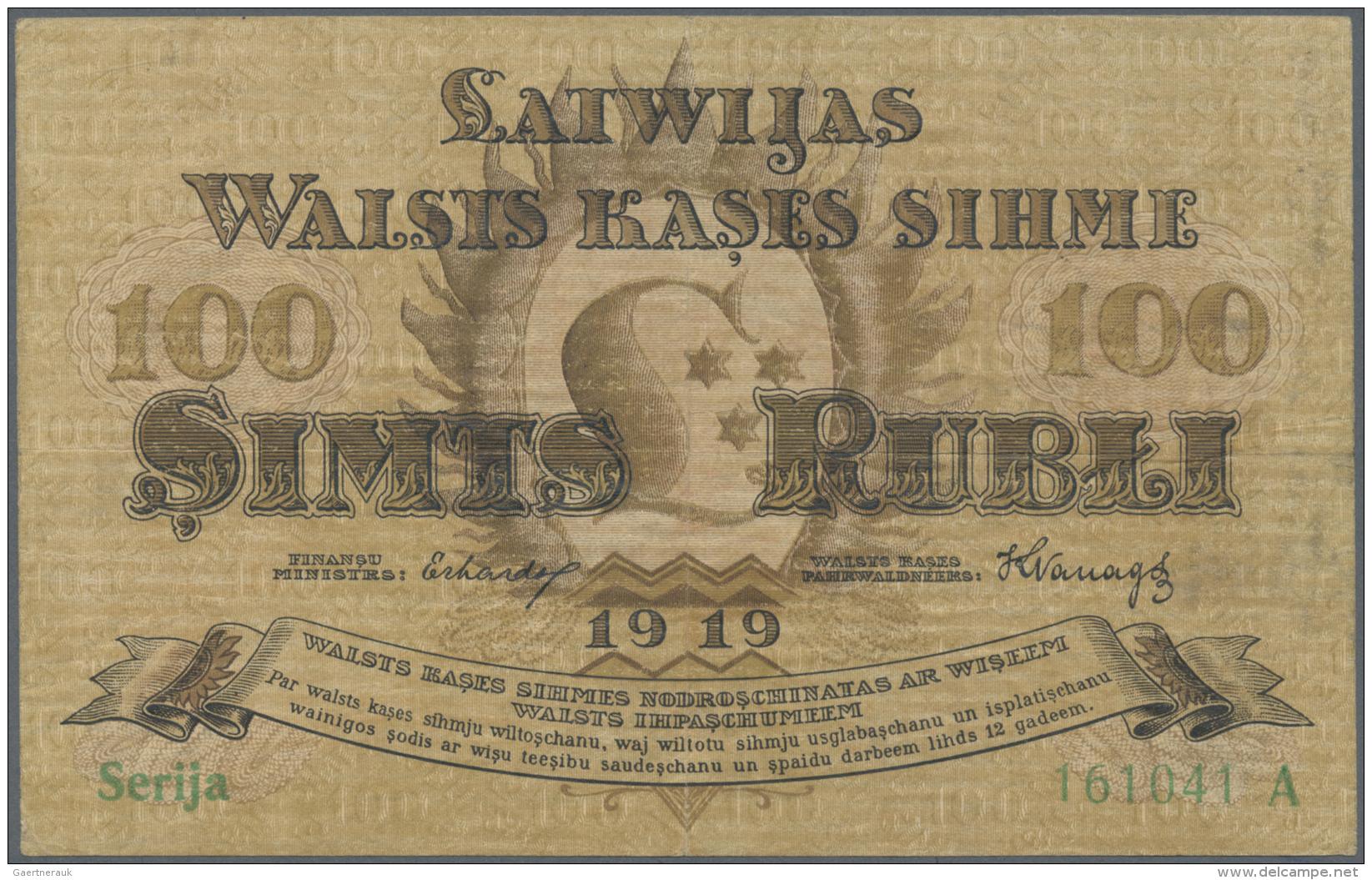 "Latvia /Lettland: 100 Rubli 1919 P. 7a, Series ""A"", Sign. Erhards, Center Fold And Light Handling In Paper, Paper Still - Latvia"