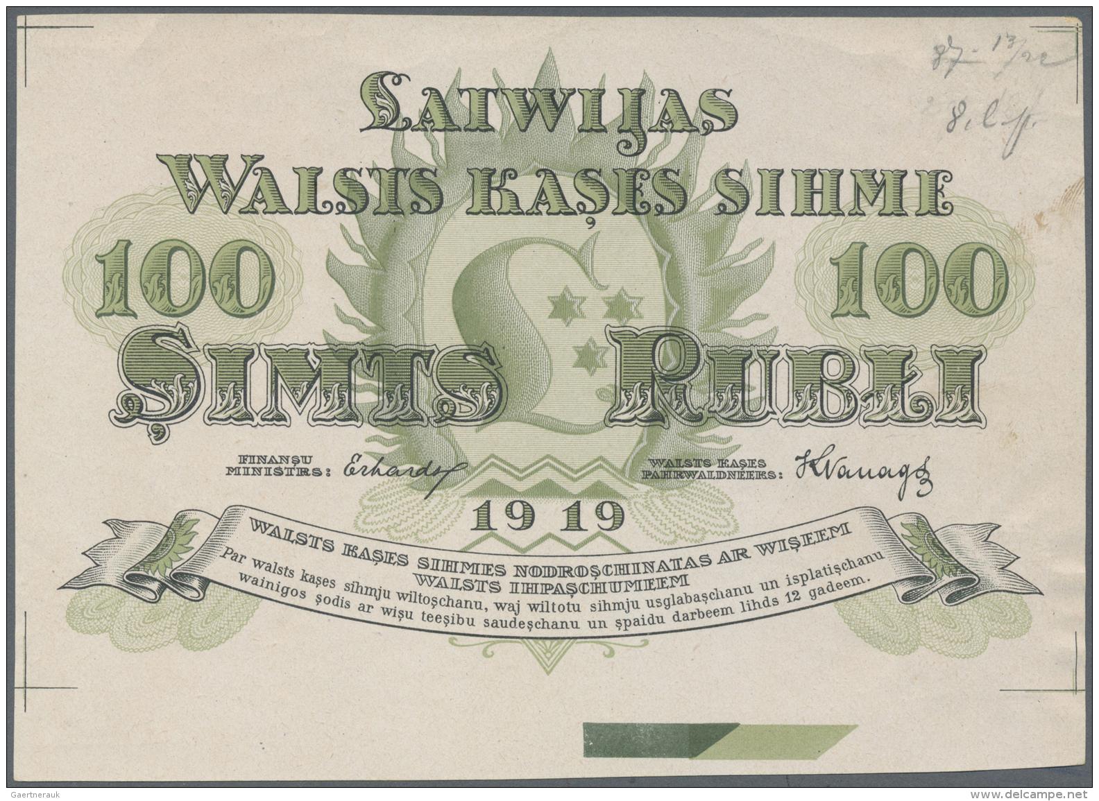 Latvia /Lettland: Rare Uniface Front PROOF Print Of 100 Rubli 1919 P. 7p, W/o Serial, Sign. Erhards, Black/green Print O - Latvia