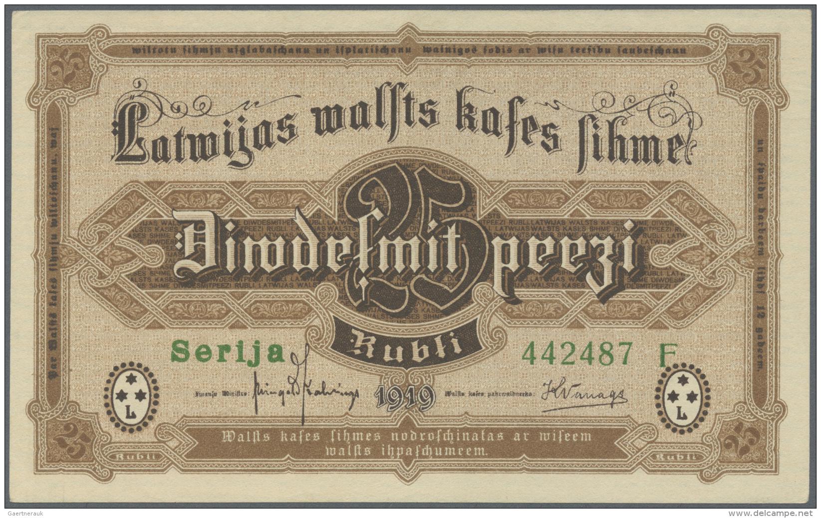 """Latvia /Lettland: 25 Rubli 1919 P. 5g, Series """"F"""", Sign. Kalnings, Never Folded Only Very Very Light Handling In Paper, - Latvia"""