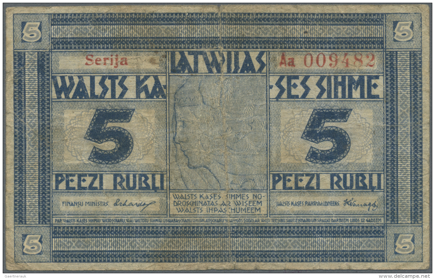 """Latvia /Lettland: 5 Rubli 1919 P. 3a, Series """"Aa"""", Signature Erhards, Issued From 1919 Till 1925, 250.000 Of These Notes - Latvia"""