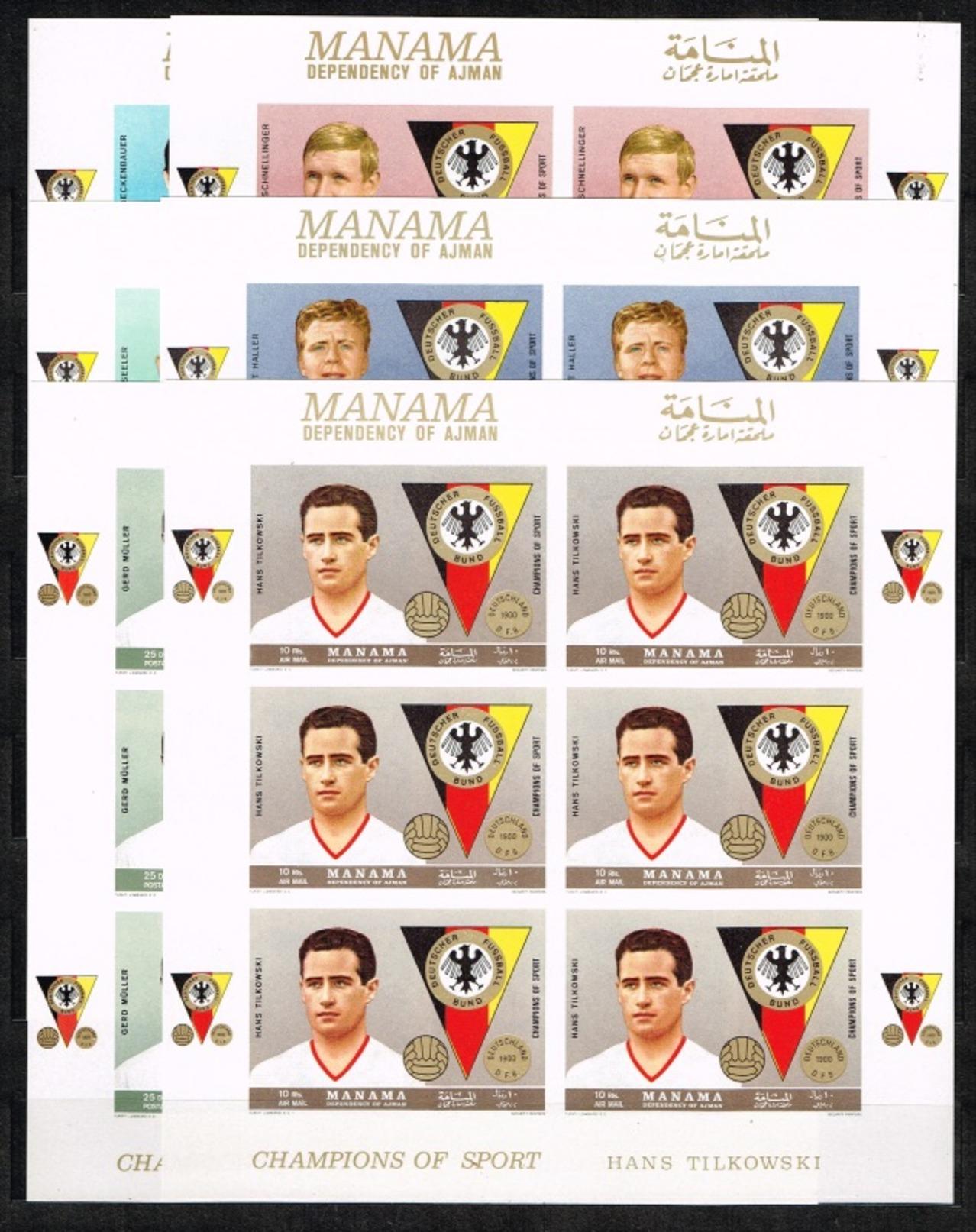 Manama.1969.Soccer.Football.Fussball.6KLB.Imperforated.MNH** - Fútbol