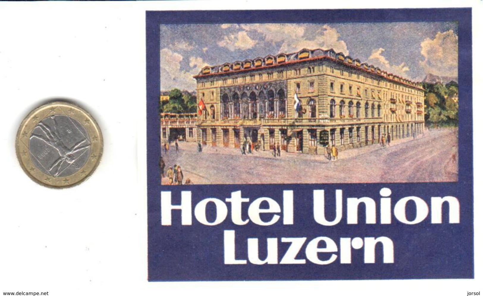 ETIQUETA DE HOTEL  -HOTEL UNION   -LUZERN  -SUIZA ( SUISSE ) ( CON CHARNELA ) - Etiquettes D'hotels