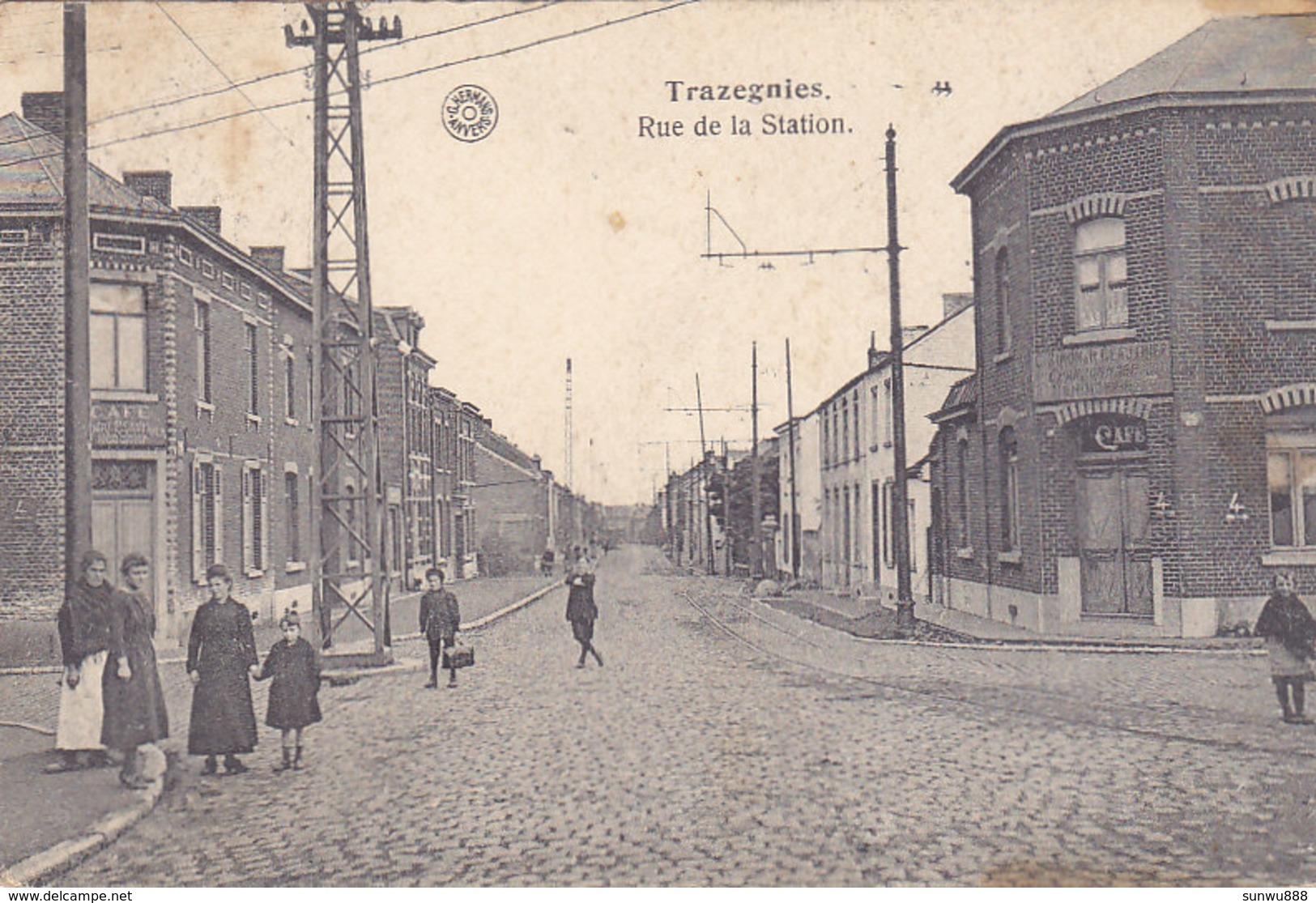 Trazegnies - Rue De La Station (animée, Café) - Courcelles
