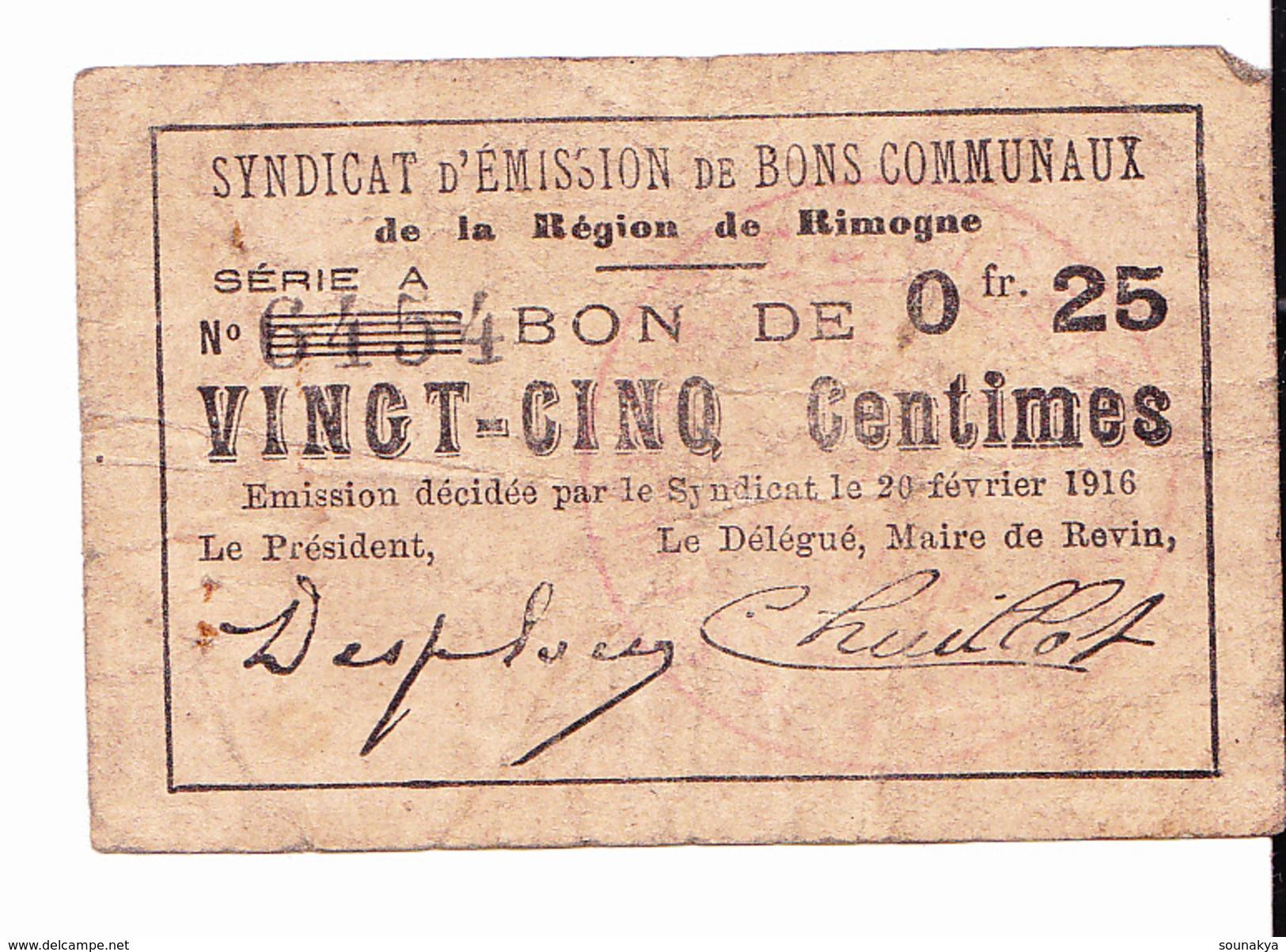 BON De 25c SYNDICAT D'EMISSION De La Région De RIMOGNE 1916 - Bons & Nécessité