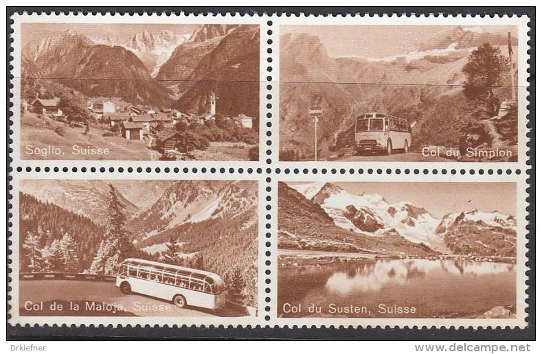Probedruck Der PTT Schweiz, Specimen, 4erBlock, ZDr., Soglio, Malojapass, Simplonpass, Sustenpass, Postbus - Blocks & Sheetlets & Panes