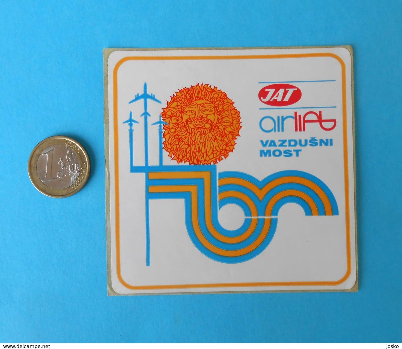 JAT - YUGOSLAV AIRLINES ... Vintage Official Sticker * National Airways * Plane * Avion * No. 2 - Stickers