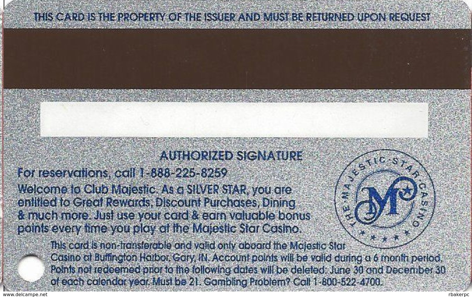 Majestic Star Casino - Gary, IN USA - 4th Issue Slot Card - Round Logo On Reverse - Casino Cards
