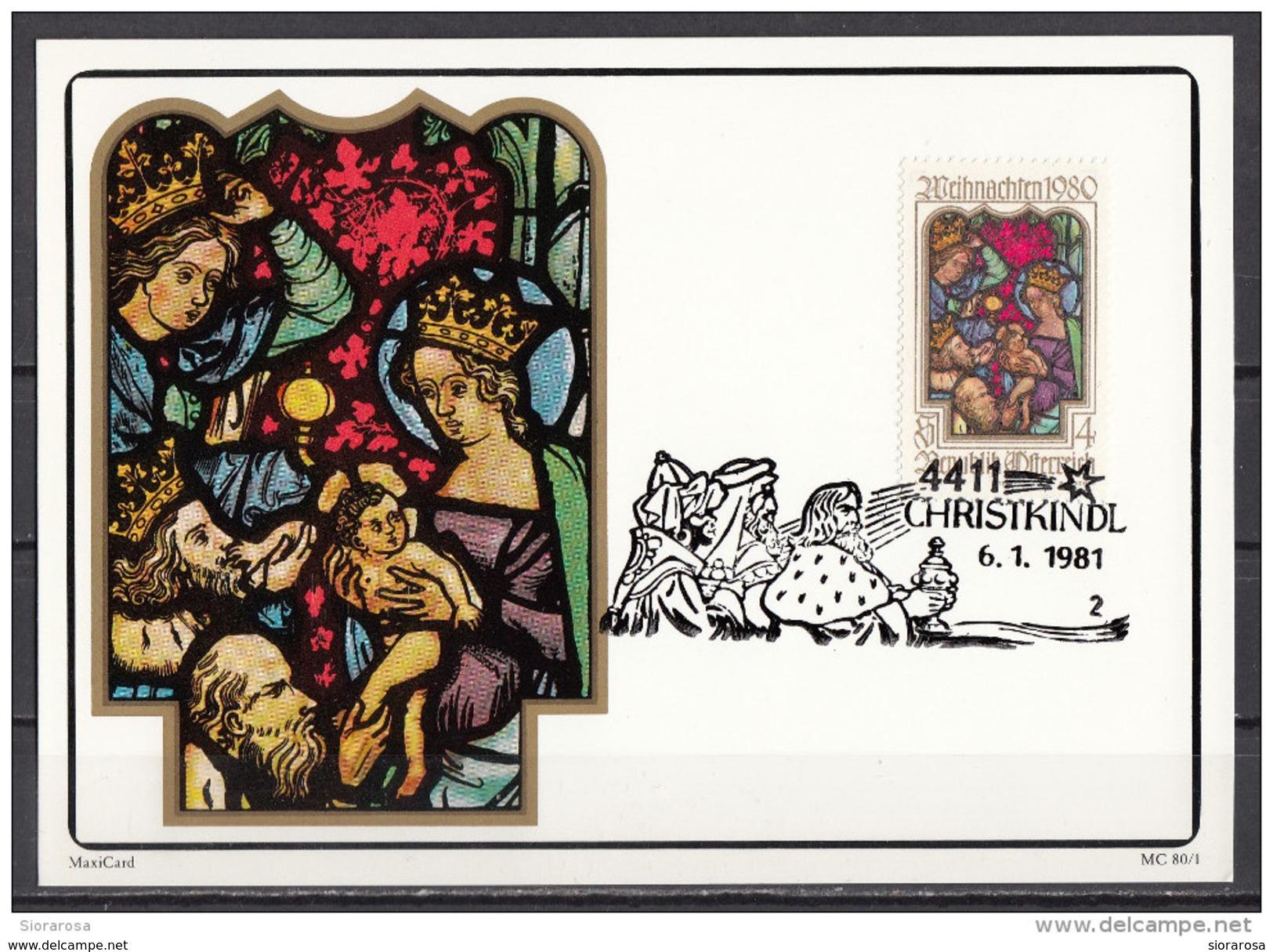 1171 Austria 1980 Natale Christmas MAXIMUM CARD Vetrate Nativity, Stained Glass Window, Klagenfurt - Vetri & Vetrate