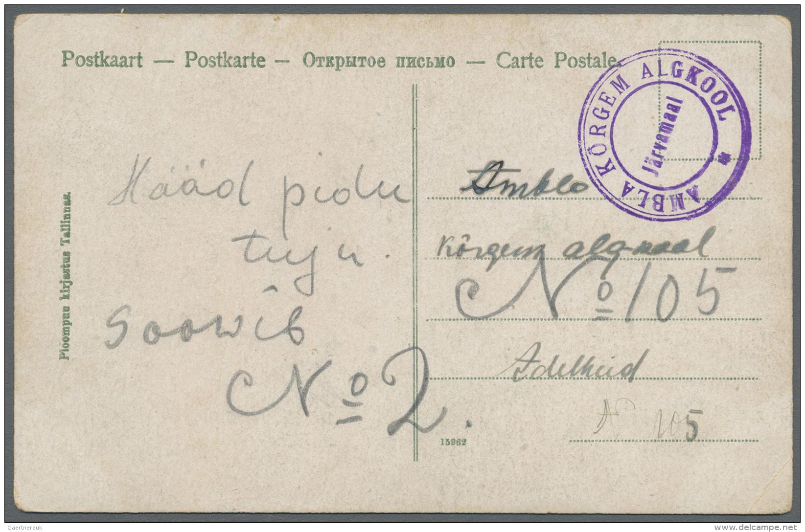 """Estland: 1919, Fieldpost Card (?) With Blue Mark """"AMBLA KÖRGEM ALGKOOL"""" (Ambla Higher Primary School). - Estonia"""