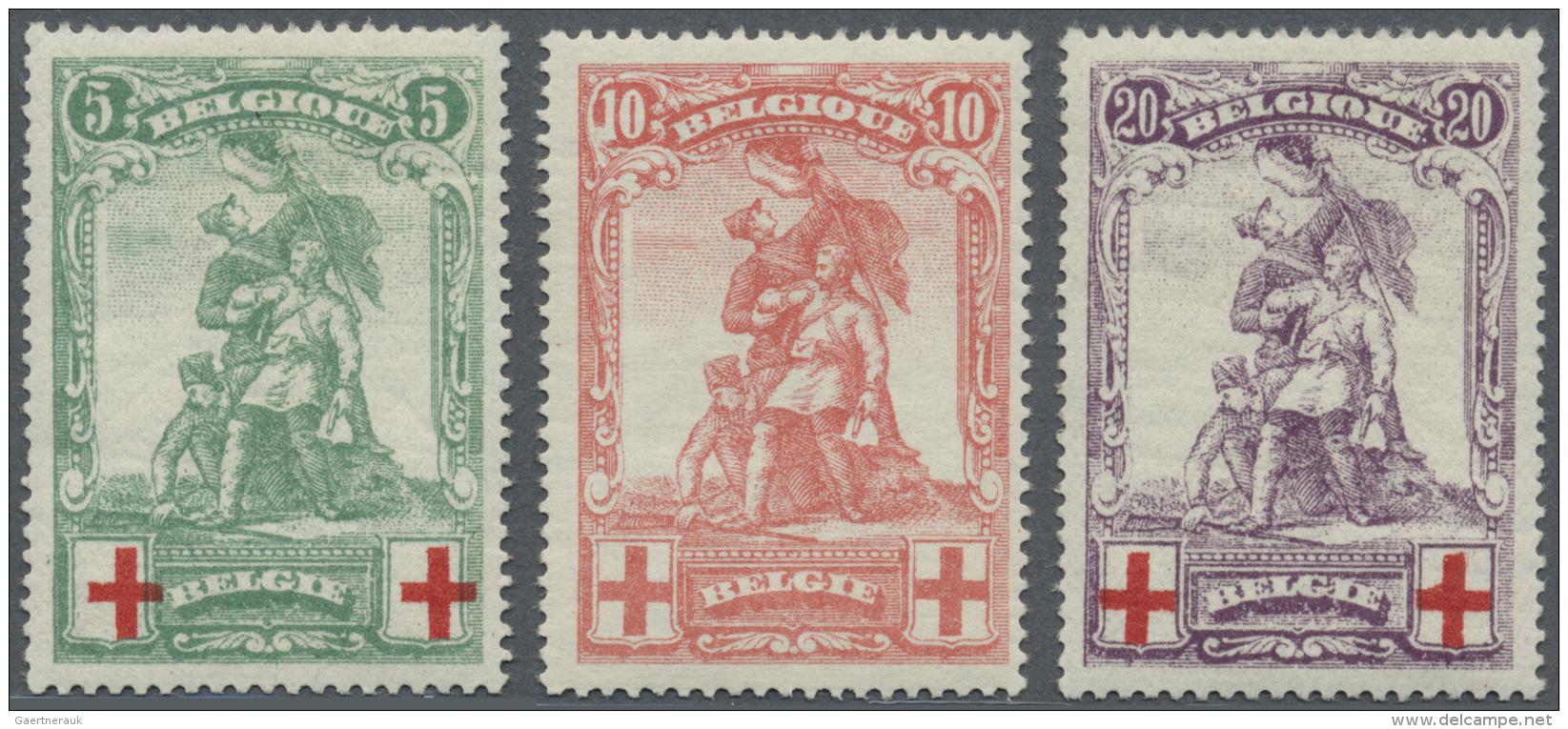 Belgien: 1914/1925, Rotes Kreuz (I) Und 75 Jahre Belgische Briefmarken Als Zwei Postfrische Sätze - Unused Stamps
