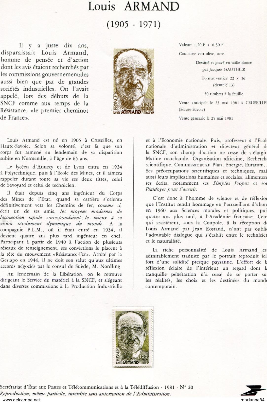 France-1981-document De La Poste- Louis Armand (n°20) - Documents De La Poste
