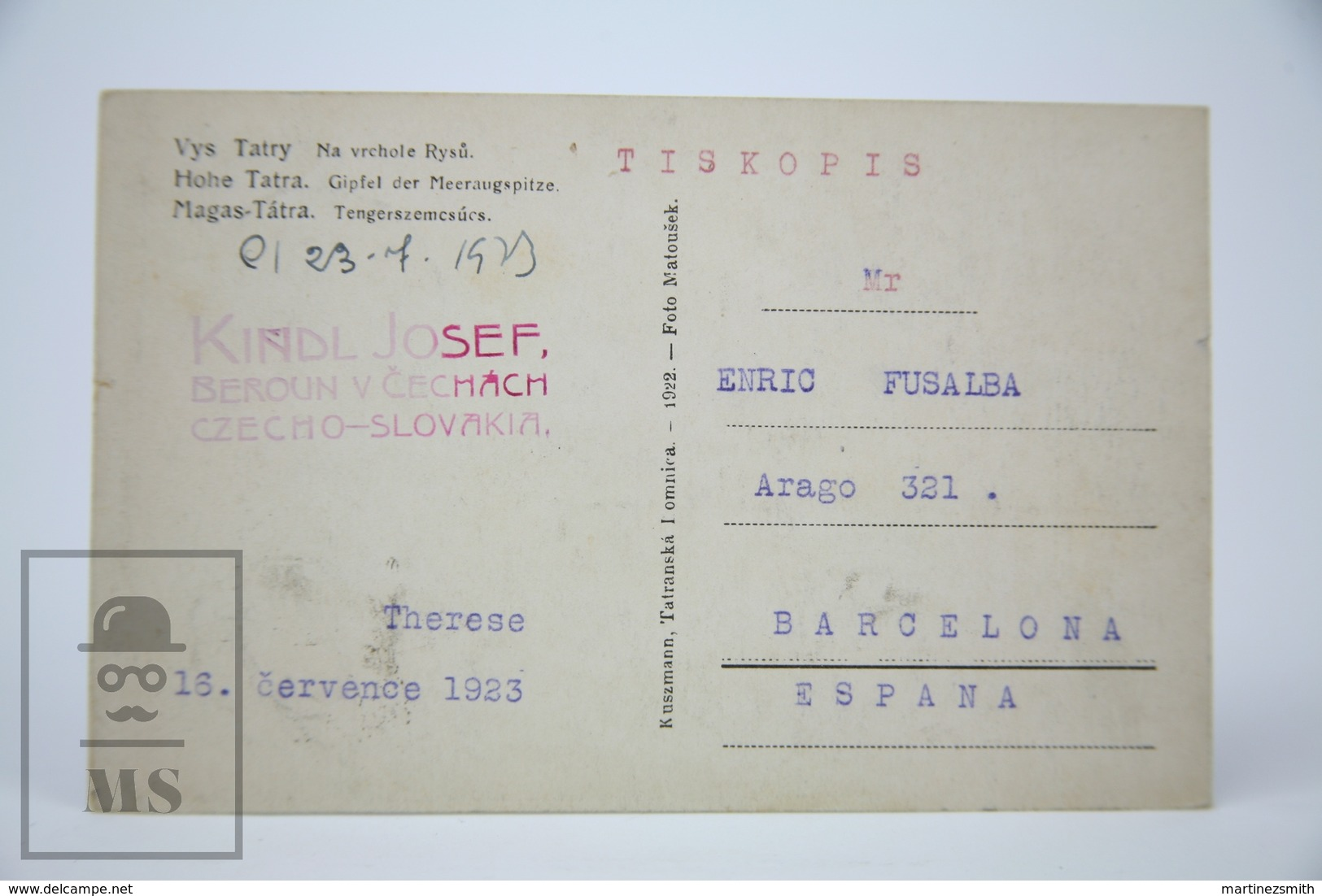 Old Postcard Slovakia - Hohe Tatra - Therese  - 1923 - Eslovaquia