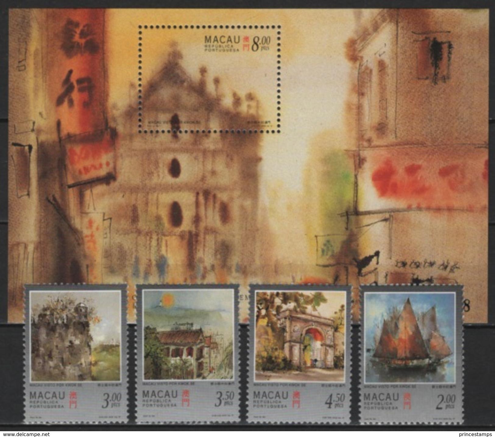 Macao - Macau (1997) Yv. 848/51 + Bf. 42  /   Art - Paintings - Peintres - Bateaux - Ships - 1999-... Chinese Admnistrative Region