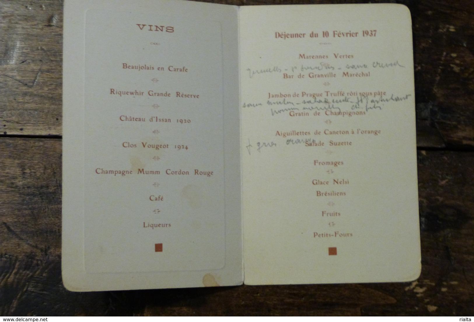 PRESIDENCE DE LA CHAMBRE DES DEPUTES, MENU DU 10 FEVRIER 1937 - Menus