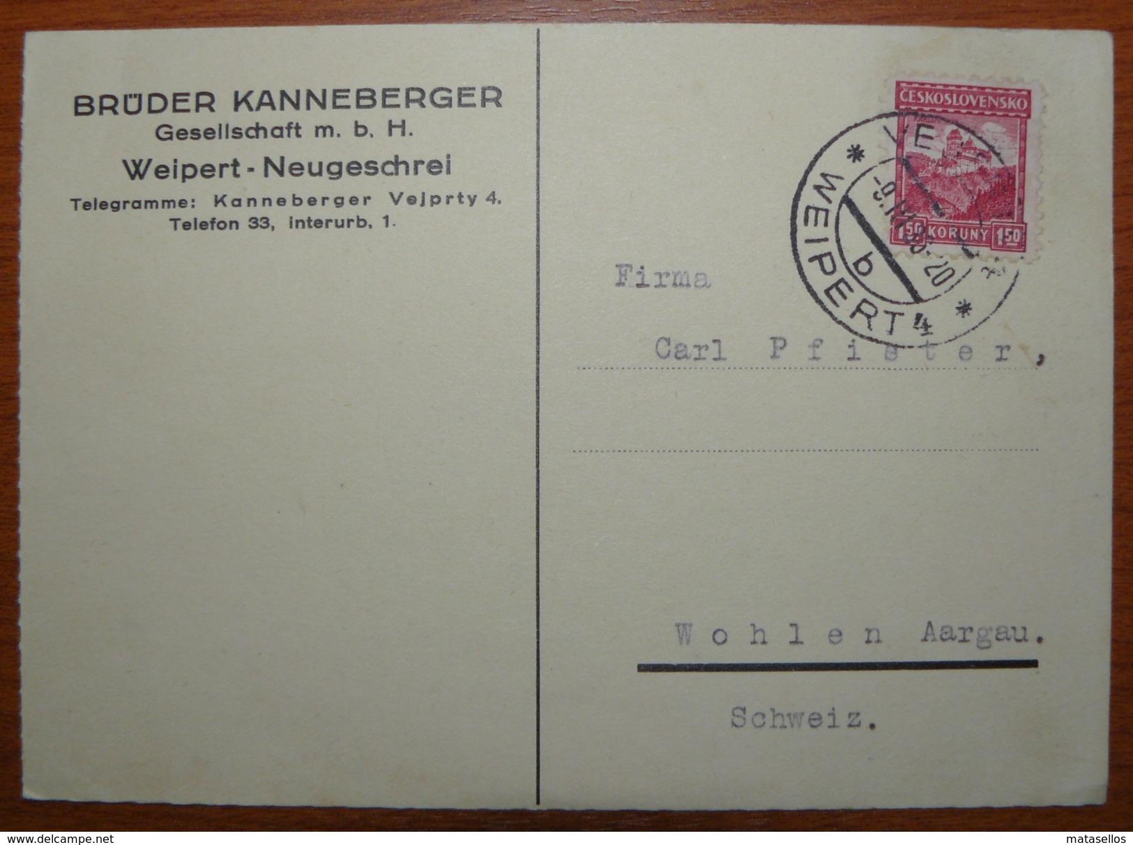 Letter - Cover - Tarjeta Postal De Checoslovaquia 1936 - Briefe U. Dokumente