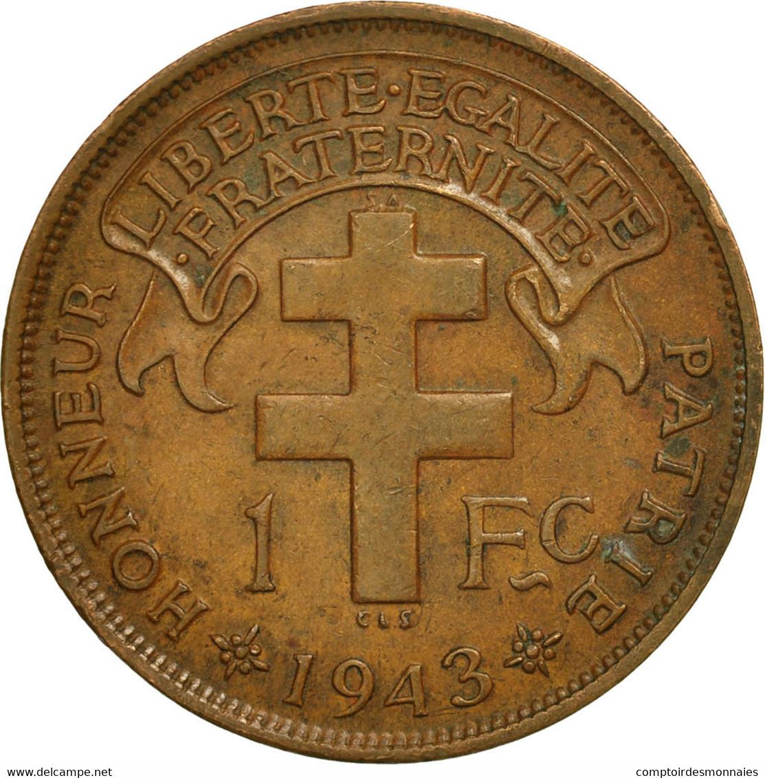 Cameroun, Franc, 1943, Pretoria, TTB+, Bronze, KM:5 - Cameroun