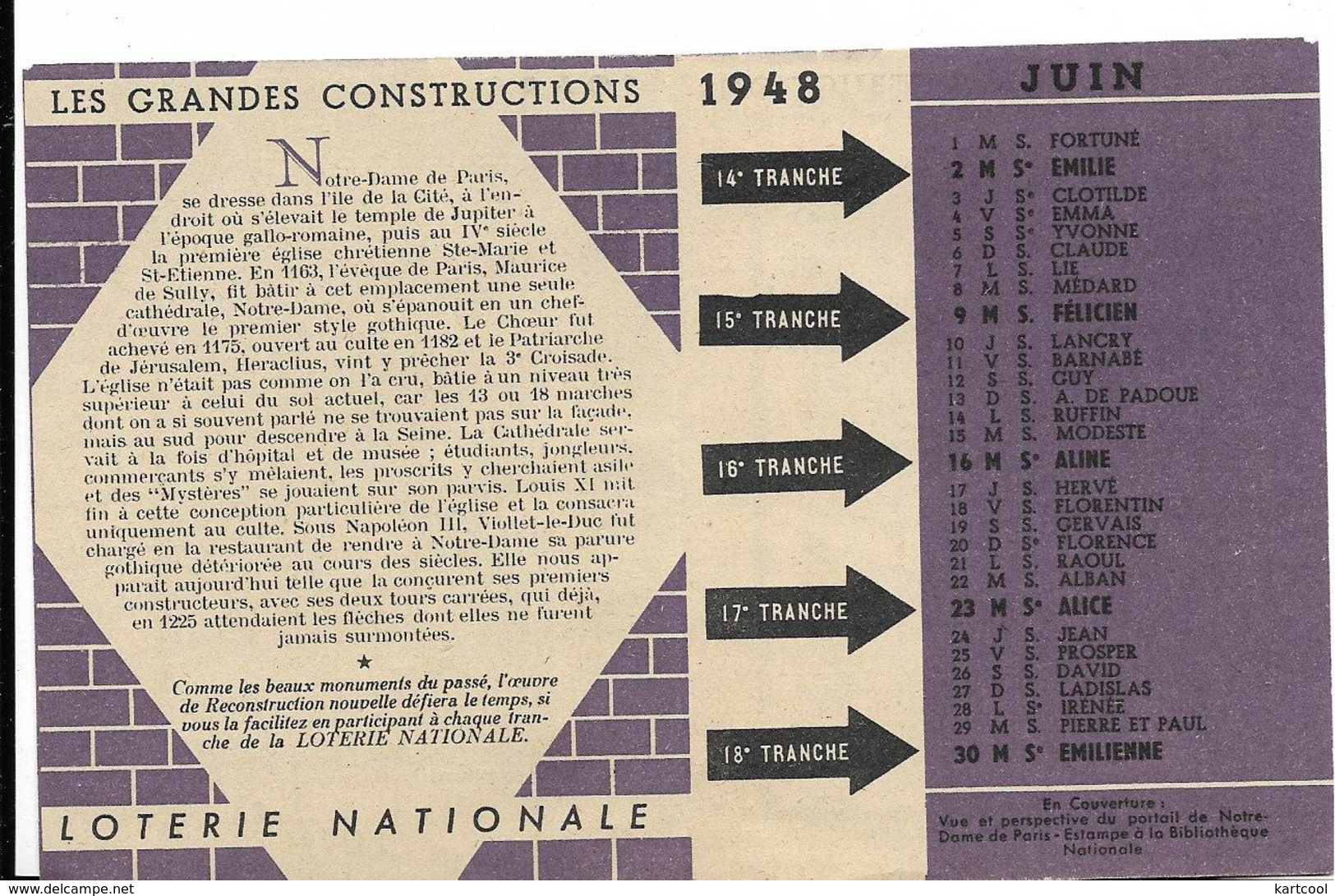 Loterie Nationale Juin 1948 Calendrier Format 8X10 Env Cm - Notre Dame De Paris - Calendriers