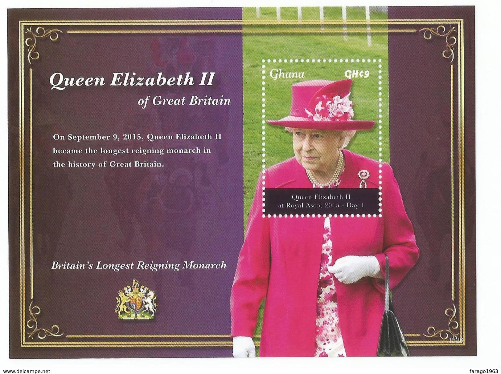 2015 Ghana QEII Longest Serving Monarch Complete Set Of 2 Sheets  MNH  BELOW FACE VALUE - Ghana (1957-...)