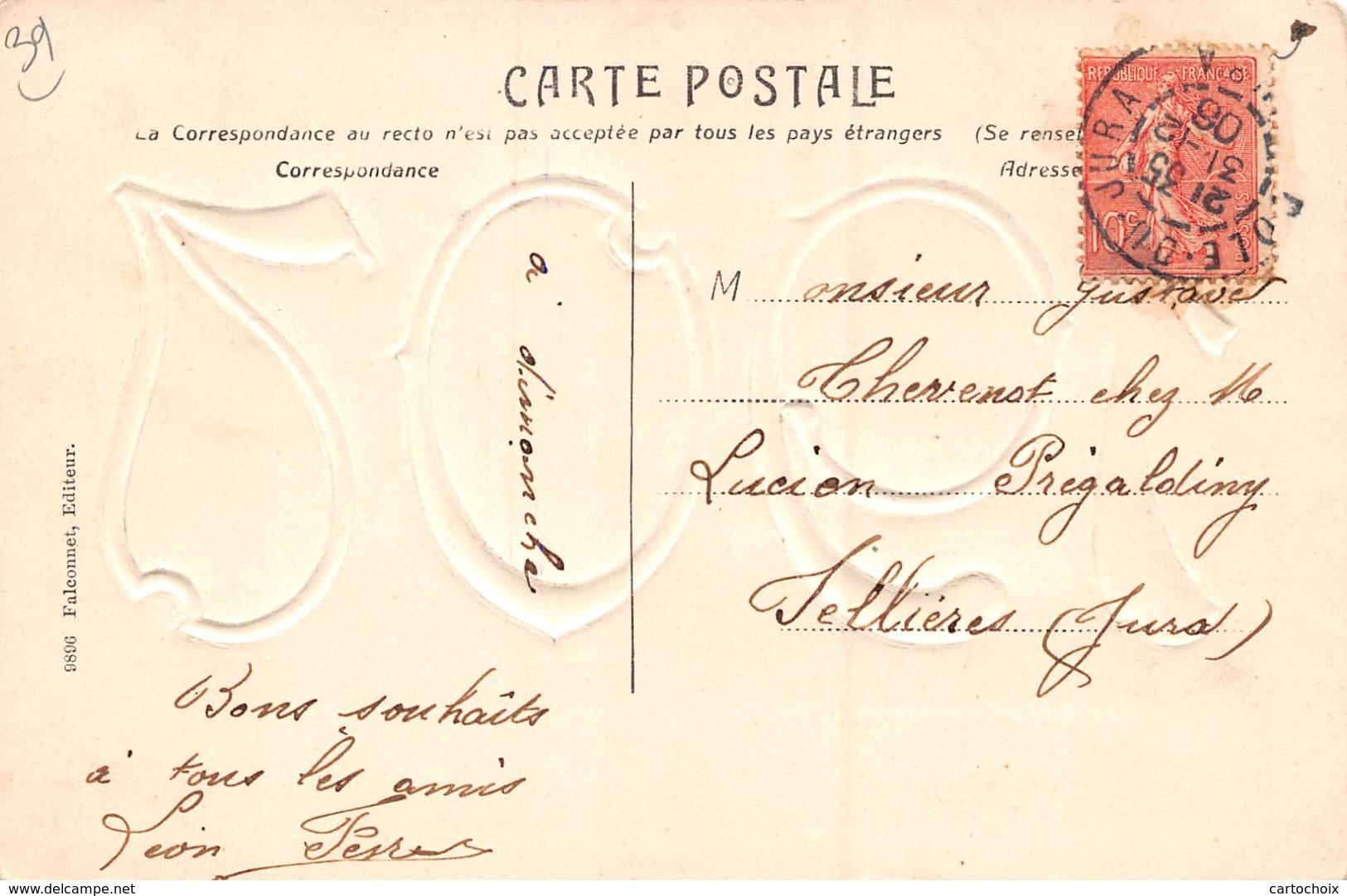 39 - Dole - Chiffre En Relief Doré - 1907 - 3 Minis Plans - Dole