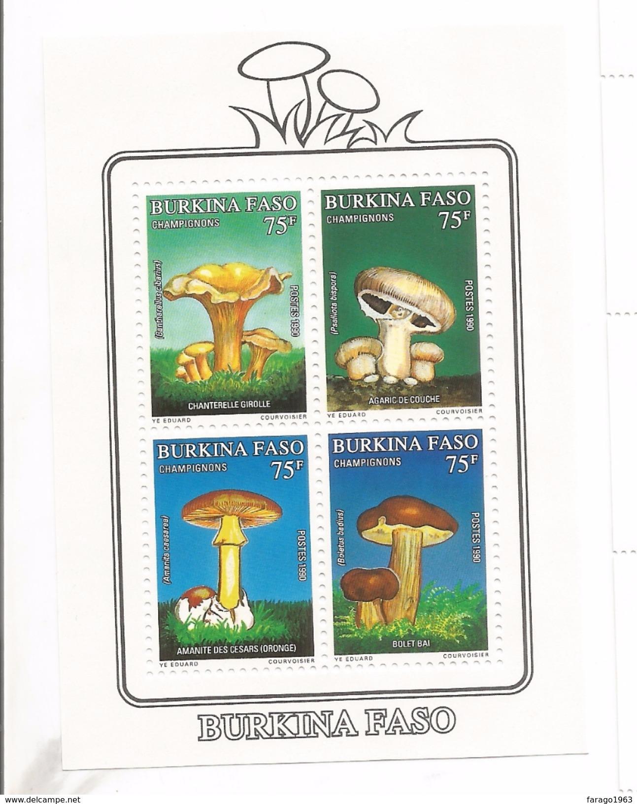 1990 Burkina Faso Mushrooms Fungi Difficult To Find Souvenir Sheet MNH - Burkina Faso (1984-...)