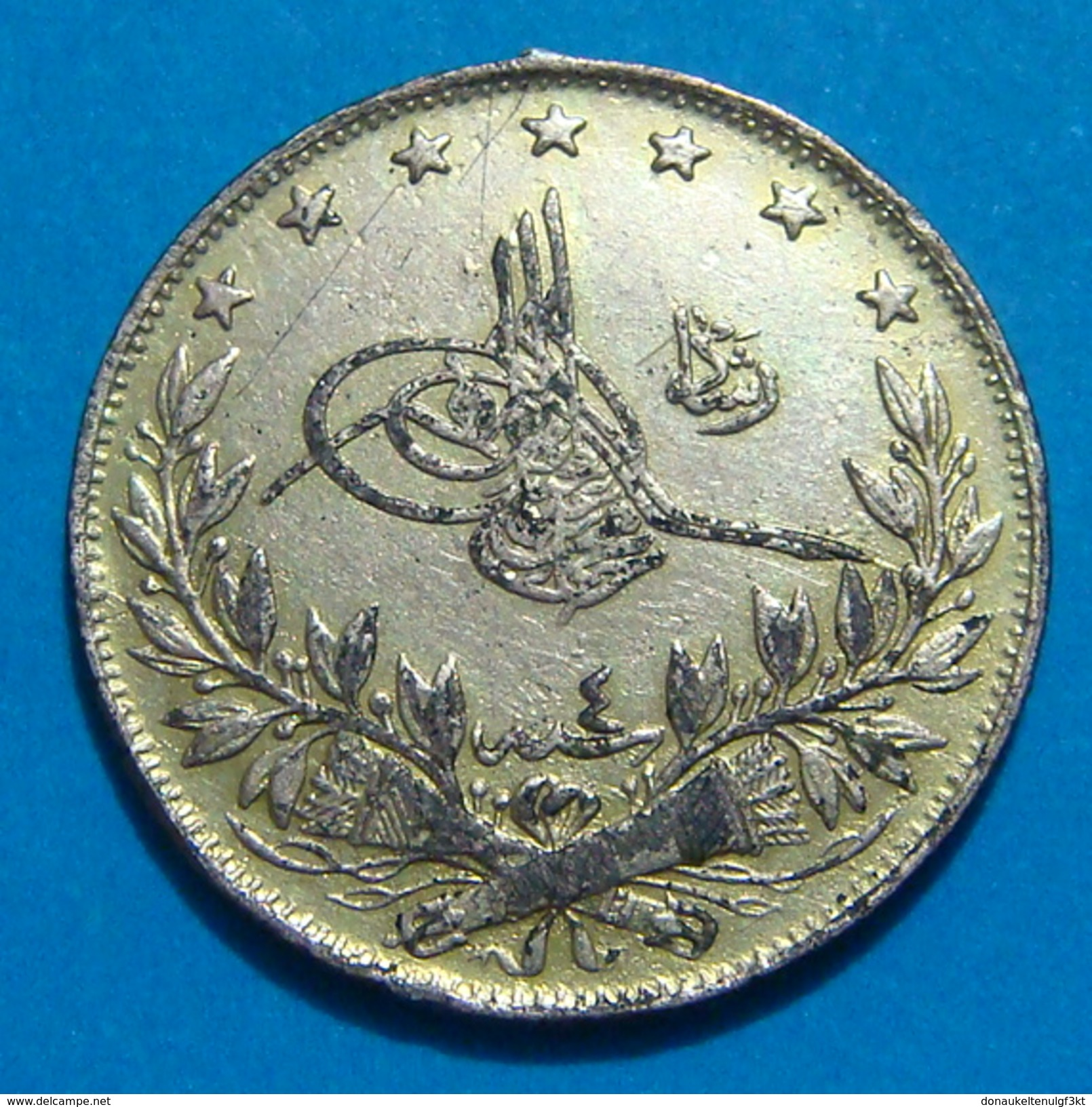 TURKEY OTTOMAN 100 PIASTRES 1327 Year 4, OFFICIAL RESTRIKE OR PROBE, VERY RARE OR UNIQUE, 5.59 Gr. - Turquie