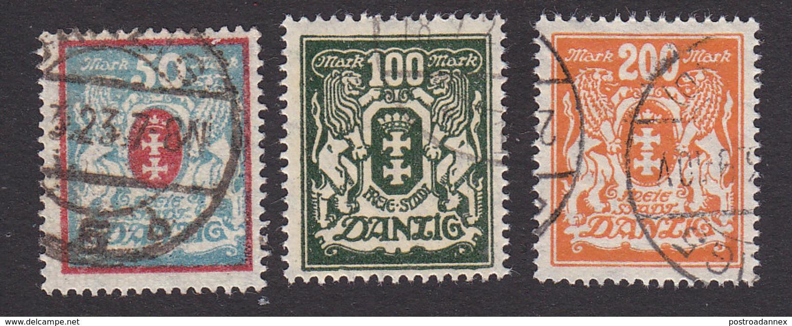 Danzig, Scott #106-107, 115, Used, Arms, Issued 1922 - Danzig