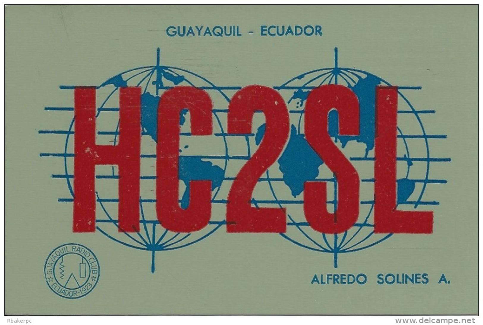 Amateur Radio QSL Card - HC2SL - Ecuador - 1978 - 2 Scans - Radio Amateur