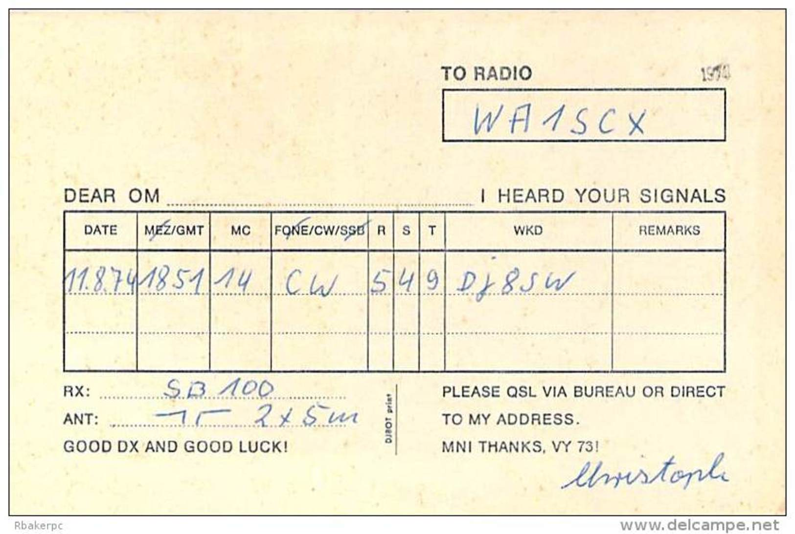 Amateur Radio Contact SWL Card From DE-R09/19049 In Germany - 1974 - 2 Scams - Radio Amateur