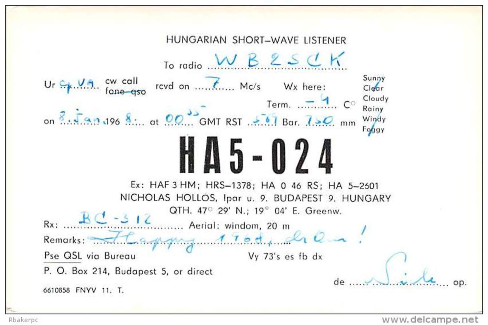 Amateur Radio Contact SWL Card From HA5-024 In Hungary - 1968 - Radio Amateur
