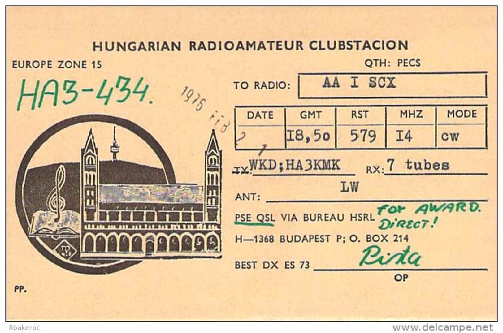 Amateur Radio Contact SWL Card From HA3-434 In Hungary - 1976 - Radio Amateur