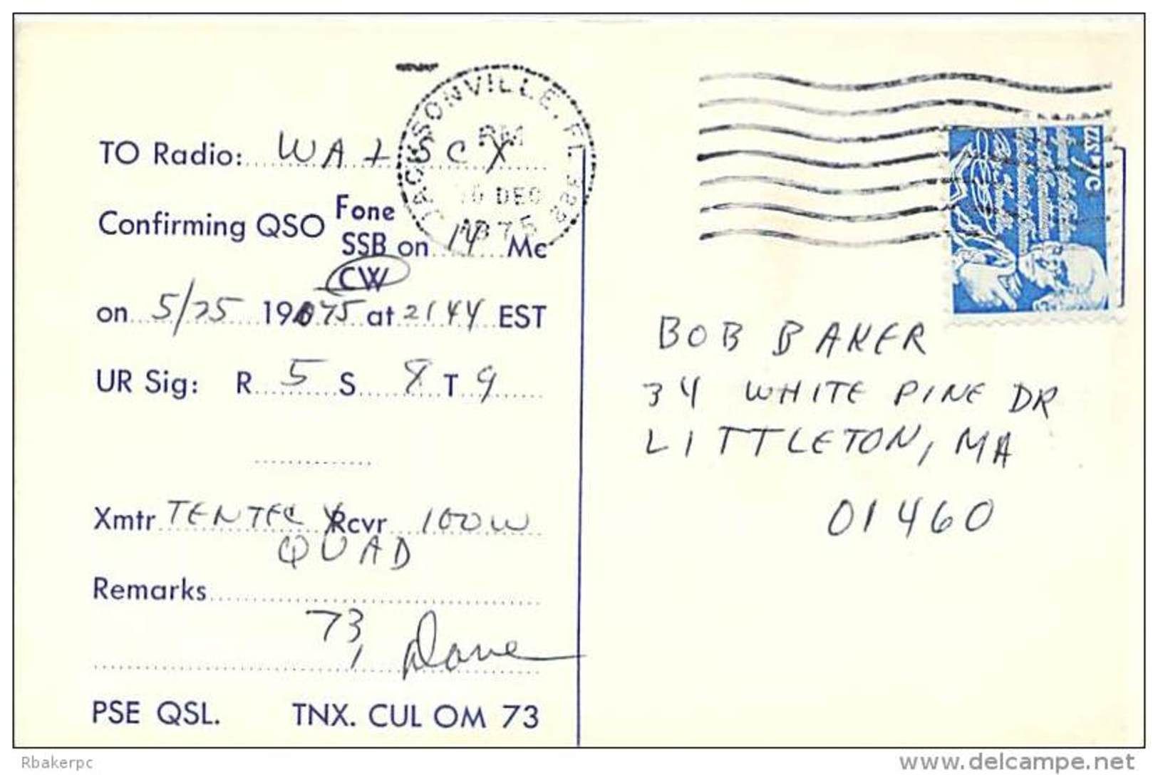 Amateur Radio QSL - W4WHK - Orange Park, FL -USA- 1975 - 2 Scans - Radio Amateur