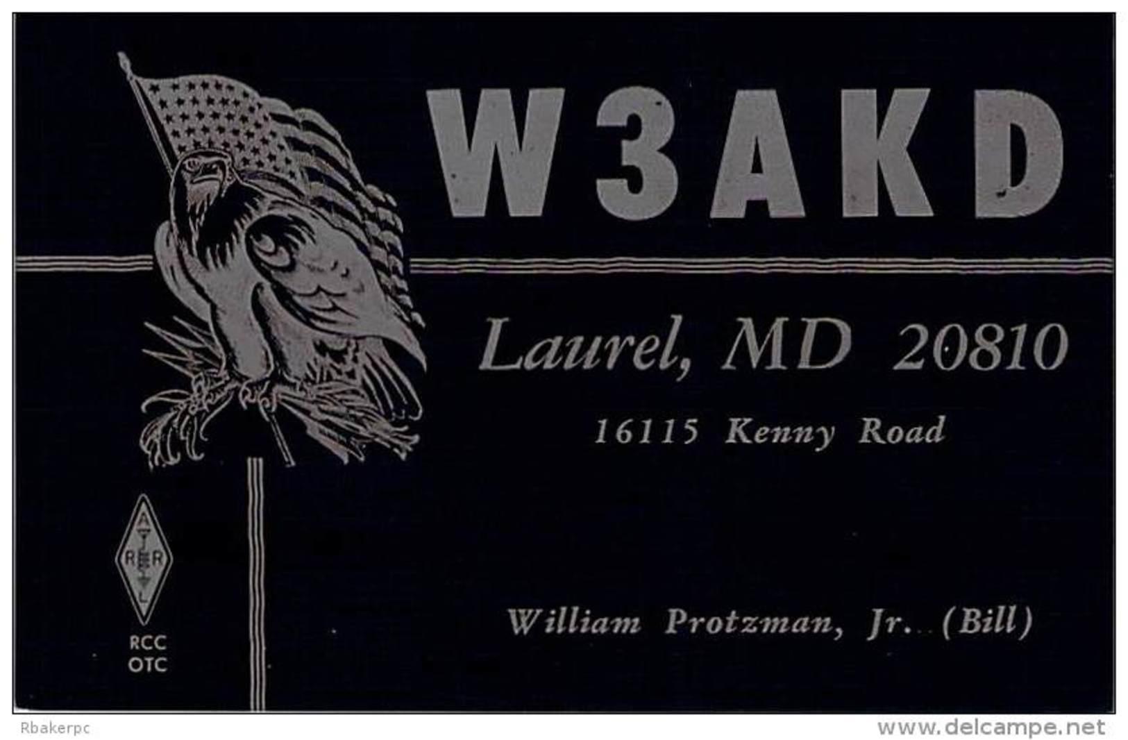 Amateur Radio QSL - W3AKD - Laurel, MD -USA- 1977 - 2 Scans - Radio Amateur