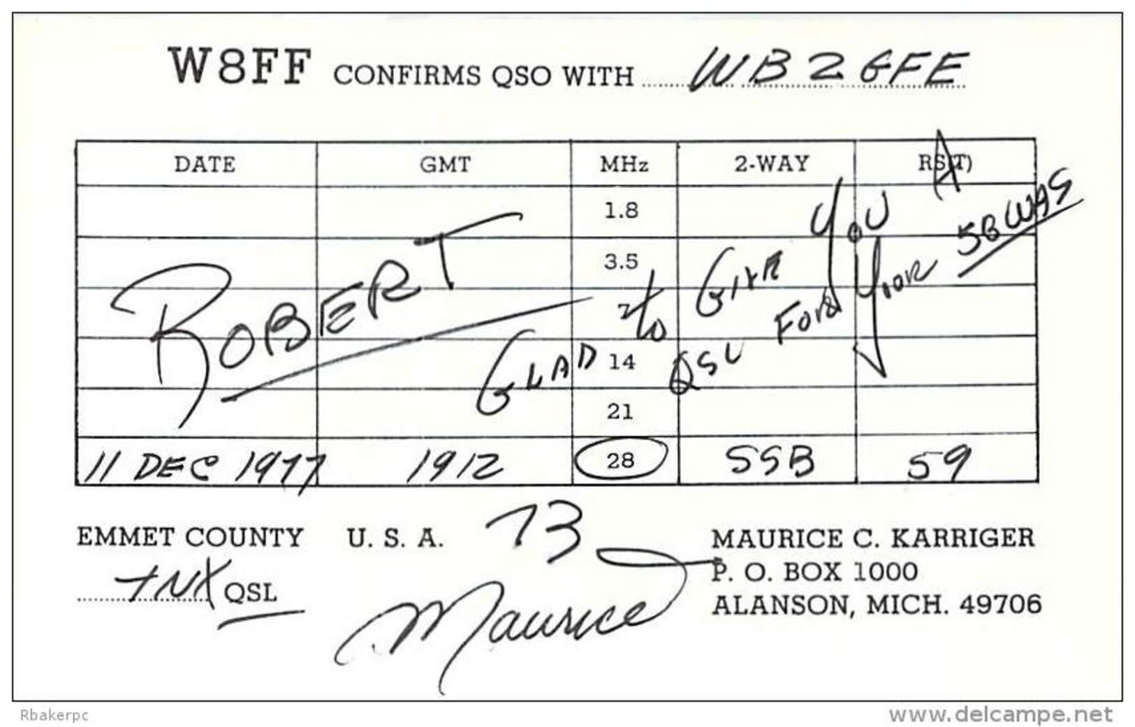 Amateur Radio QSL - W8FF - Alanson, MI -USA- 1977 - 2 Scans - Radio Amateur