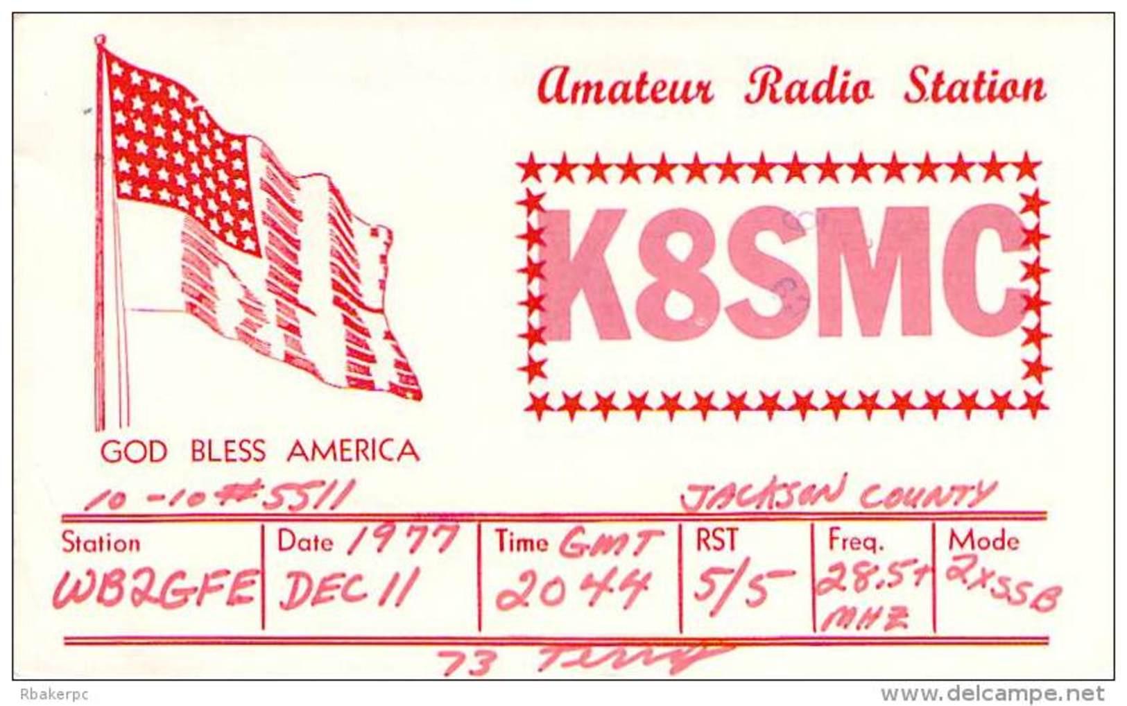 Amateur Radio QSL - K8SMC - Jackson, MI -USA- 1977 - 2 Scans - Radio Amateur