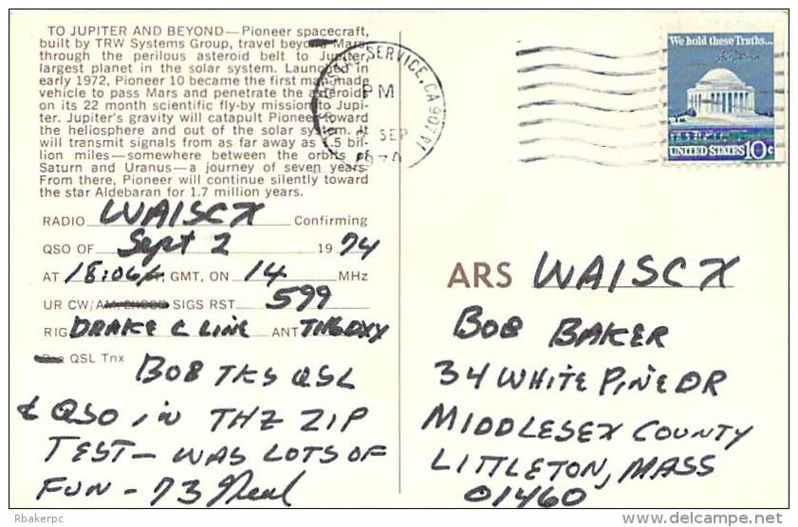 Amateur Radio QSL - WA6VCZ - Lomita, CA -USA- 1974 - 2 Scans - Radio Amateur