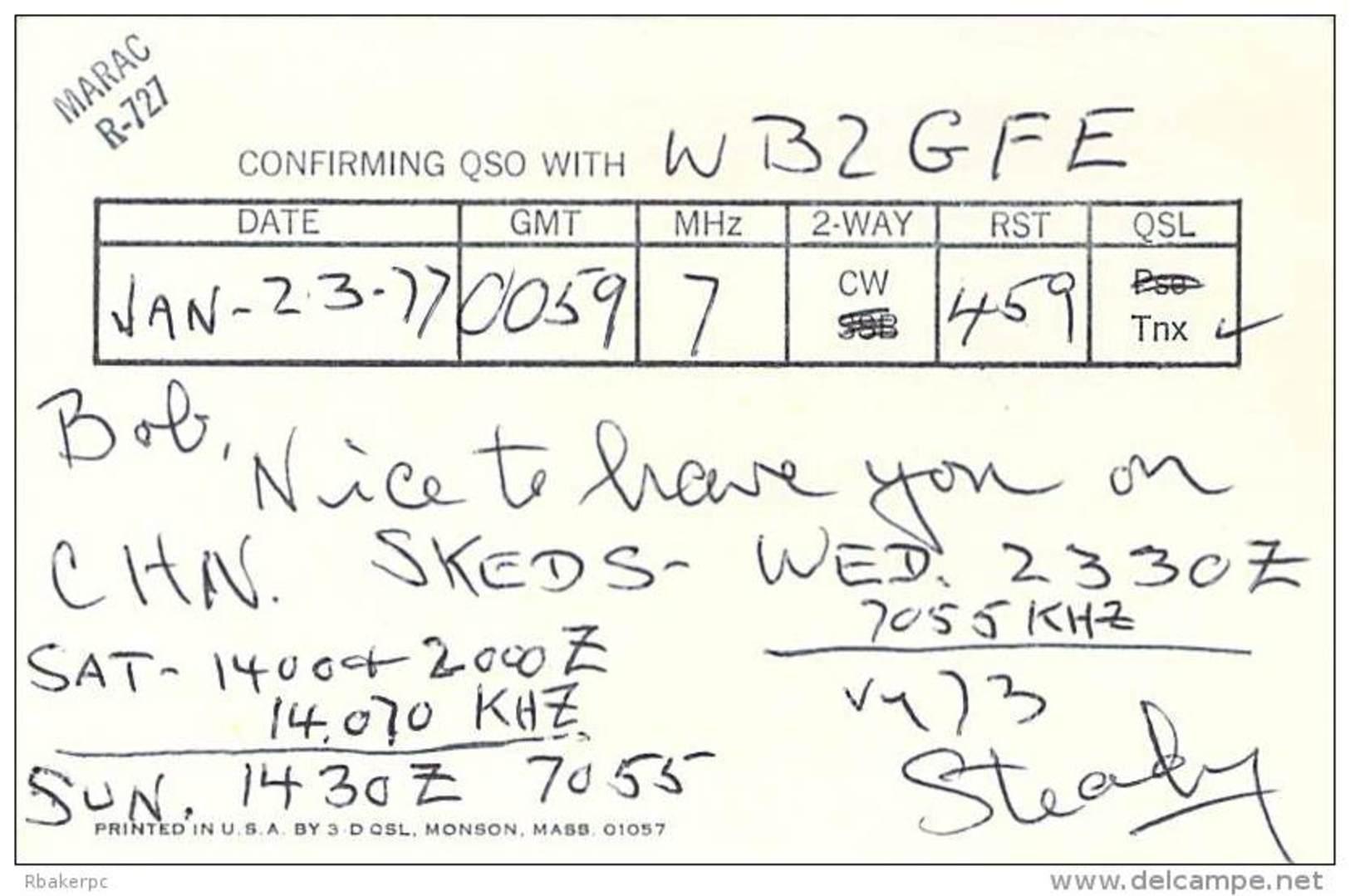Amateur Radio QSL - W2MEI - New York City, NY -USA- 1977 - 2 Scans - Radio Amateur