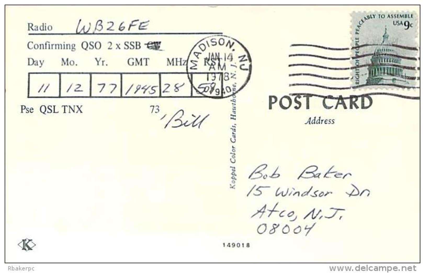 Amateur Radio QSL - W2RQ - Madison, NJ -USA- 1977 - 2 Scans - Radio Amateur